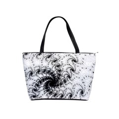 Fractal Black Spiral On White Shoulder Handbags