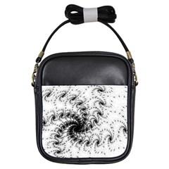 Fractal Black Spiral On White Girls Sling Bags
