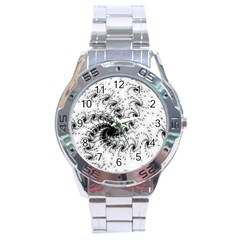 Fractal Black Spiral On White Stainless Steel Analogue Watch