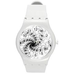 Fractal Black Spiral On White Round Plastic Sport Watch (M)