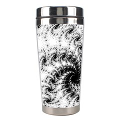 Fractal Black Spiral On White Stainless Steel Travel Tumblers