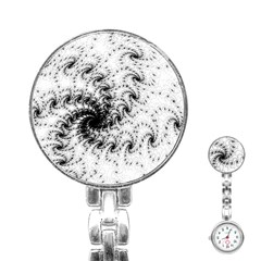 Fractal Black Spiral On White Stainless Steel Nurses Watch