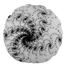 Fractal Black Spiral On White Large 18  Premium Flano Round Cushions