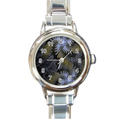 Fractal Wallpaper With Blue Flowers Round Italian Charm Watch