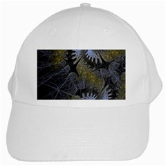 Fractal Wallpaper With Blue Flowers White Cap