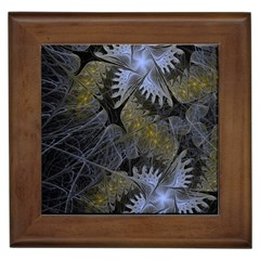 Fractal Wallpaper With Blue Flowers Framed Tiles