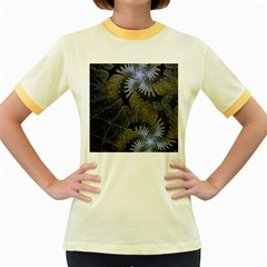 Fractal Wallpaper With Blue Flowers Women s Fitted Ringer T-Shirts