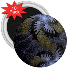 Fractal Wallpaper With Blue Flowers 3  Magnets (10 Pack)