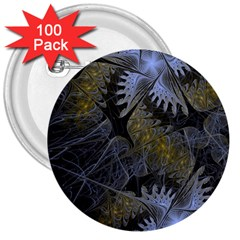 Fractal Wallpaper With Blue Flowers 3  Buttons (100 Pack)