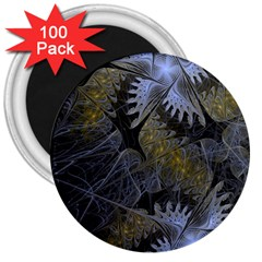 Fractal Wallpaper With Blue Flowers 3  Magnets (100 Pack)