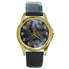 Fractal Wallpaper With Blue Flowers Round Gold Metal Watch