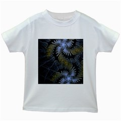 Fractal Wallpaper With Blue Flowers Kids White T Shirts