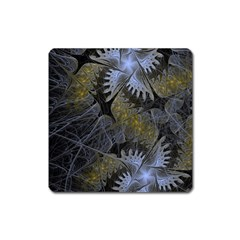 Fractal Wallpaper With Blue Flowers Square Magnet