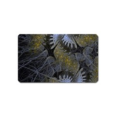 Fractal Wallpaper With Blue Flowers Magnet (Name Card)