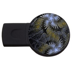 Fractal Wallpaper With Blue Flowers USB Flash Drive Round (1 GB)