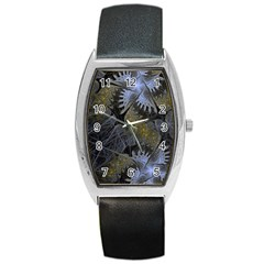 Fractal Wallpaper With Blue Flowers Barrel Style Metal Watch