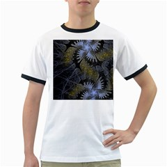 Fractal Wallpaper With Blue Flowers Ringer T Shirts