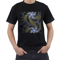 Fractal Wallpaper With Blue Flowers Men s T Shirt (black) (two Sided)