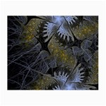 Fractal Wallpaper With Blue Flowers Small Glasses Cloth Front