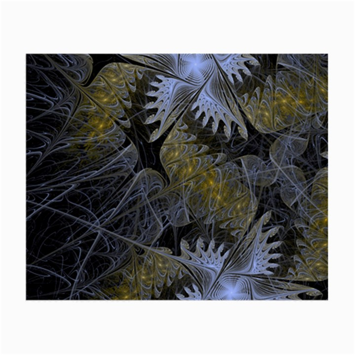 Fractal Wallpaper With Blue Flowers Small Glasses Cloth