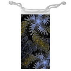 Fractal Wallpaper With Blue Flowers Jewelry Bag