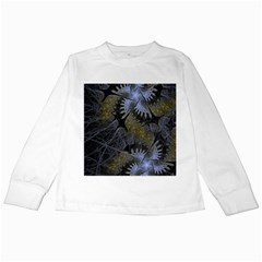 Fractal Wallpaper With Blue Flowers Kids Long Sleeve T Shirts