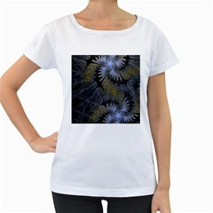 Fractal Wallpaper With Blue Flowers Women s Loose-Fit T-Shirt (White)