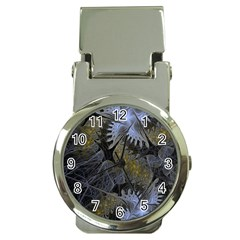 Fractal Wallpaper With Blue Flowers Money Clip Watches