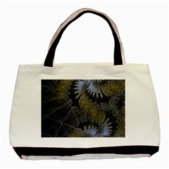 Fractal Wallpaper With Blue Flowers Basic Tote Bag