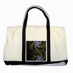 Fractal Wallpaper With Blue Flowers Two Tone Tote Bag
