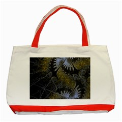 Fractal Wallpaper With Blue Flowers Classic Tote Bag (red)