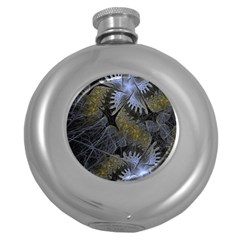 Fractal Wallpaper With Blue Flowers Round Hip Flask (5 Oz)