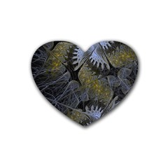 Fractal Wallpaper With Blue Flowers Rubber Coaster (heart)
