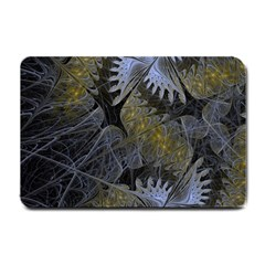 Fractal Wallpaper With Blue Flowers Small Doormat