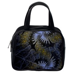 Fractal Wallpaper With Blue Flowers Classic Handbags (one Side)