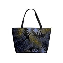 Fractal Wallpaper With Blue Flowers Shoulder Handbags