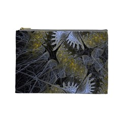 Fractal Wallpaper With Blue Flowers Cosmetic Bag (Large)
