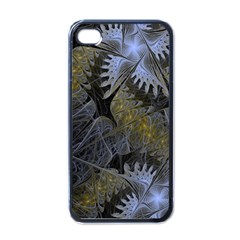 Fractal Wallpaper With Blue Flowers Apple iPhone 4 Case (Black)
