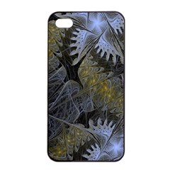 Fractal Wallpaper With Blue Flowers Apple Iphone 4/4s Seamless Case (black)