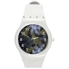 Fractal Wallpaper With Blue Flowers Round Plastic Sport Watch (M)