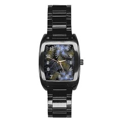 Fractal Wallpaper With Blue Flowers Stainless Steel Barrel Watch