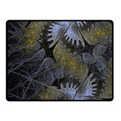Fractal Wallpaper With Blue Flowers Double Sided Fleece Blanket (small)