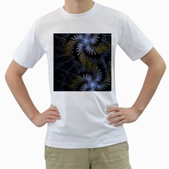 Fractal Wallpaper With Blue Flowers Men s T-Shirt (White)