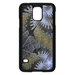 Fractal Wallpaper With Blue Flowers Samsung Galaxy S5 Case (black)