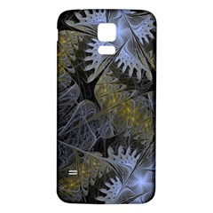 Fractal Wallpaper With Blue Flowers Samsung Galaxy S5 Back Case (White)