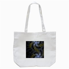 Fractal Wallpaper With Blue Flowers Tote Bag (white)