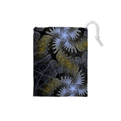 Fractal Wallpaper With Blue Flowers Drawstring Pouches (small)