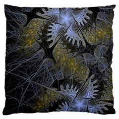 Fractal Wallpaper With Blue Flowers Large Flano Cushion Case (Two Sides)