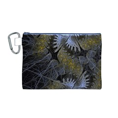 Fractal Wallpaper With Blue Flowers Canvas Cosmetic Bag (M)