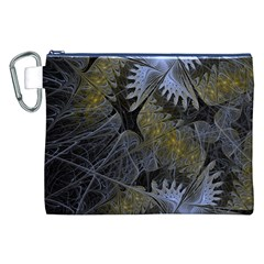 Fractal Wallpaper With Blue Flowers Canvas Cosmetic Bag (XXL)